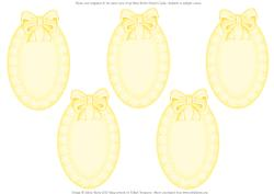 Oval Lace and Ribbon Inserts - Yellow