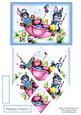 Bunnies & Chicks Painting Easter Eggs - Diamond Stacker Card