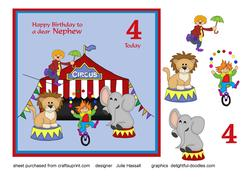 Birthday Card for Nephew Age 4 with Circus