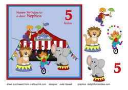 Birthday Card for Nephew Age 5 with Circus