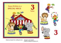 Circus Birthday Card for Niece Age 3