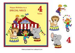 Circus Birthday Card for Niece Age 4