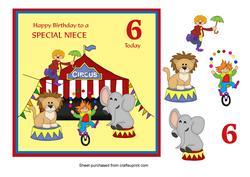 Circus Birthday Card for Niece Age 6