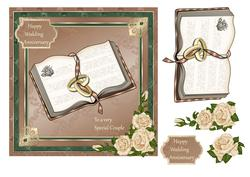 Wedding Anniversary, Bible, Rings & Ivory Roses