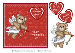 Teddy Bear Cupid Valentine's Card for Wife & the One I Love
