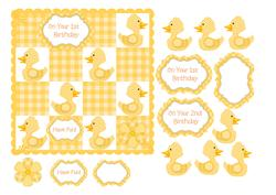1st or 2nd Birthday Card with Yellow Gingham Ducks