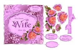 Wife Birthday Card with Peach & Lilac Roses