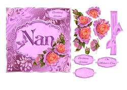 Birthday or Mother's Day Card for Nan with Decoupage Roses