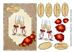 Anniversary Card with Champagne Glasses and Red Gold Roses
