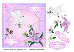 Mum & Dad Wedding Anniversary Card with Flowers, Dove, Rings