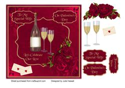 Valentine Card for Wife with Champagne & Roses