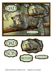 Birthday Card for Dad, Son, Brother with Tiger on Branch