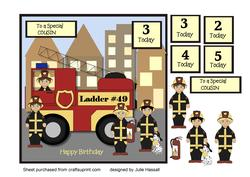 Birthday Card for Cousin with Fire Engine & Crew
