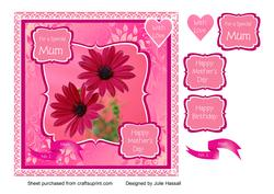 Pink Floral Mother's Day/ Birthday Card