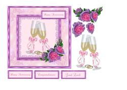 Anniversary Card with Champagne & Roses