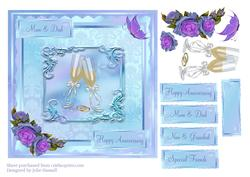 Wedding Anniversary Card with Champagne, Roses & Butterfly