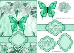 Teal Butterfly Floral Banner Card Sheet