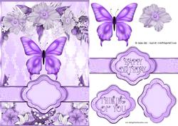 Purple Butterfly Floral Banner Card Sheet