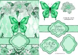 Butterfly Floral Banner Card Sheet Green