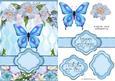 Blue Butterfly Floral Banner Card Sheet