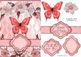 Butterfly Floral Banner Card Sheet Pinks