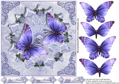 Gorgeous Blue and Lilac Butterfly's on Satin Card Front
