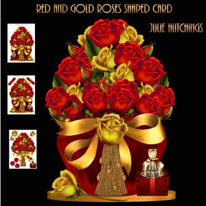 Red and Gold Roses Shaped Card Kit