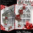 A Christmas Window with Red Decorations Fold Card