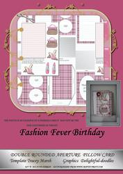 Fashion Fever Birthday Double Rounded Aperture Pillow Card