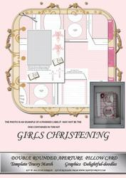Girls Christeningdouble Rounded Aperture Pillow Card