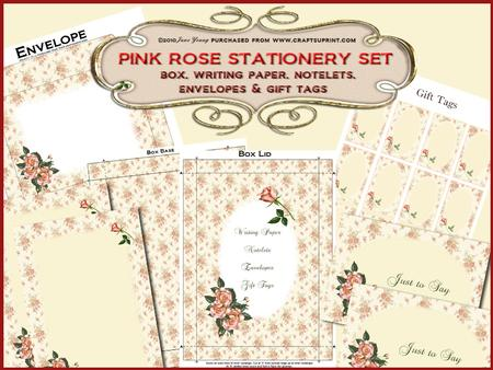 Pink Roses Stationery Set