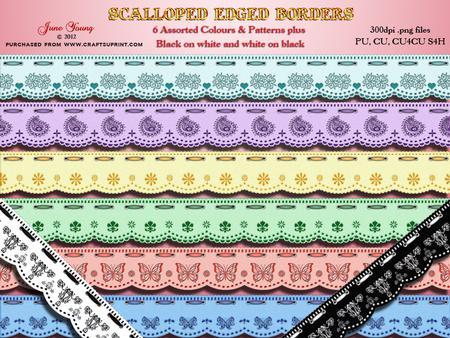 8 Scalloped-edged Ribbon Borders