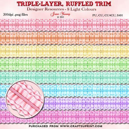Triple Layer Ruffled Trim - Light Colours