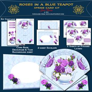 Mauve Roses in a Blue Teapot
