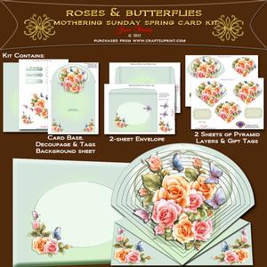 Mothers Day - Mothering Sunday - Roses & Butteflies