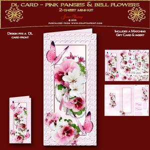 Dl Card Pink Pansies & Bell Flowers