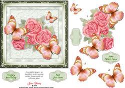 Pink Roses & Butterflies