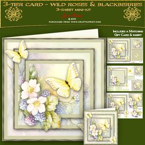3tier Card - Wild Roses & Blackberries