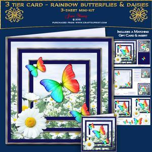 3 Tier Card - Rainbow Butterflies & Daisies
