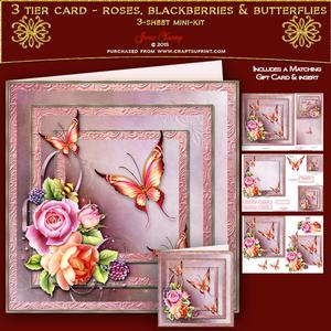 3 Tier Card - Roses, Blackberries & Butterflies