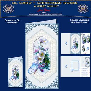 Dl Card - Christmas Roses