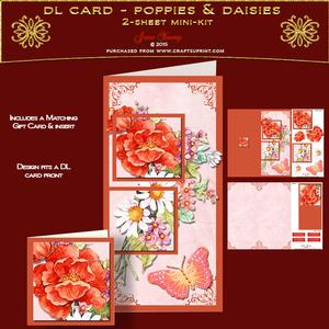 Dl Card - Poppies & Daisies