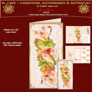 Dl Card - Carnarions, Gooseberries & Butterflies