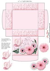 Gift/cake Box Pink & White Gerberas