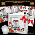 Accessories in Black White & Red, - Faux Display Box