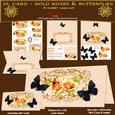 Dl Card - Golden Roses & Butterflies