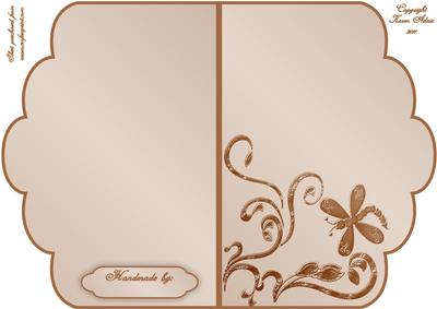 Scalloped Edge Cut and Fold Card Base - Beige
