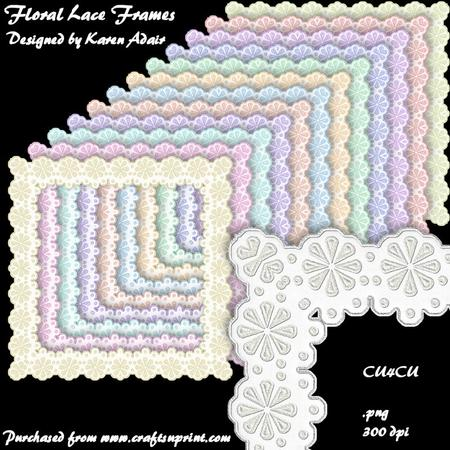 Floral Lace Square Frames