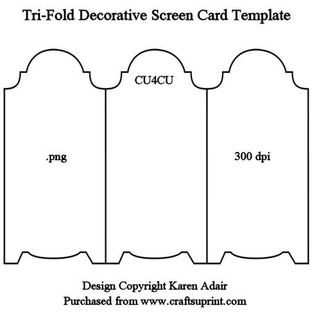 Tri Fold Screen Card Template Cup328979 168 Craftsuprint