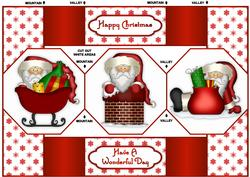 Santa's Coming - Octagon Tri-fold Quick Card